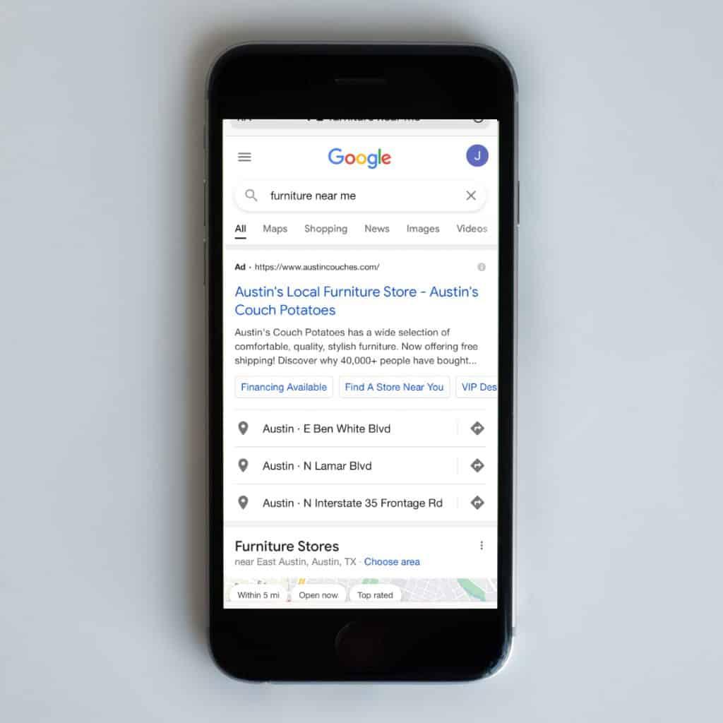 furniture marketing google search ads